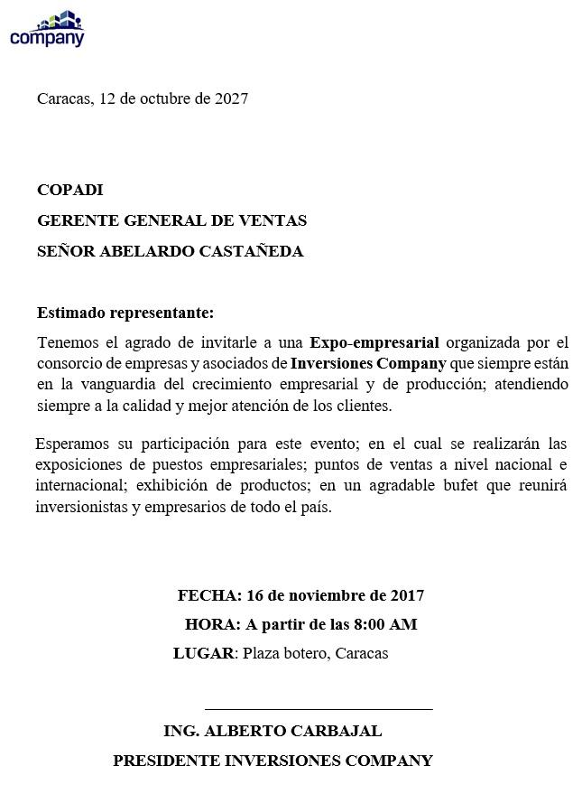 Carta de invitación formal a una autoridad