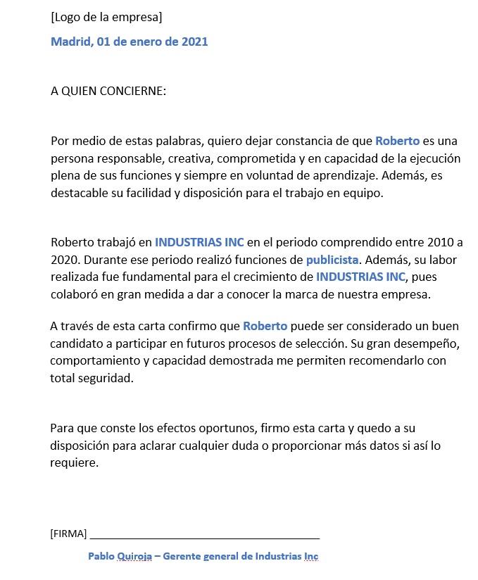 carta de recomendacion personal pdf descargar